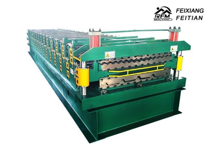 Double Deck Roll Forming Machine , Color Steel Sheet Metal Roofing Machine